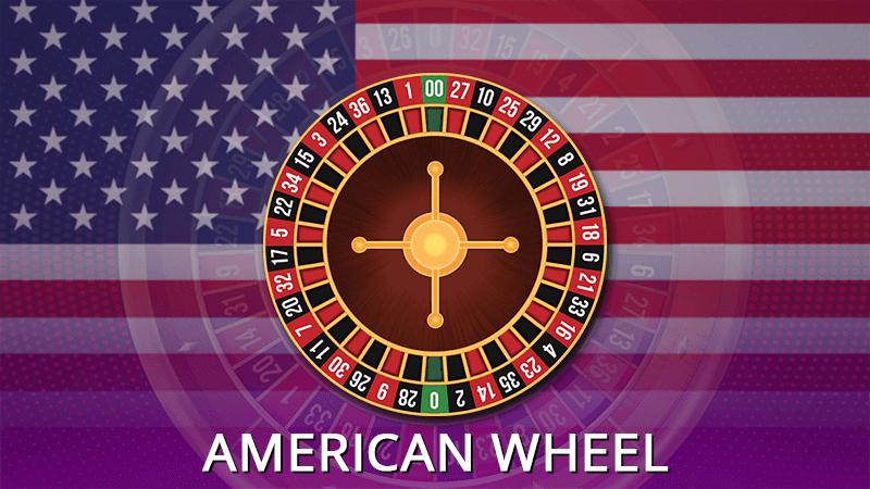 American roulette wheel in details